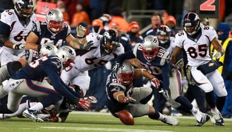 Montee Ball (not pictured) fumbled the ball, and the Patriots were able to recover it.
