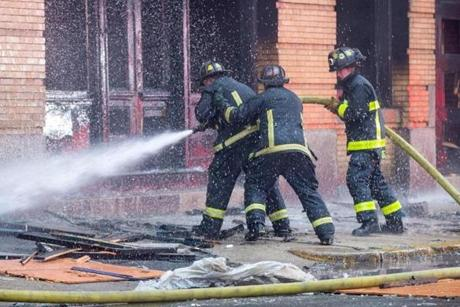 Firefighters battled an early morning blaze on Summer Street in Boston.