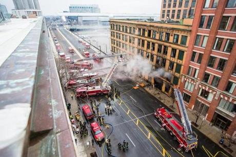 The fire department said Summer Street between D Street at the Convention Center and South Station will likely be closed for closed through the morning.