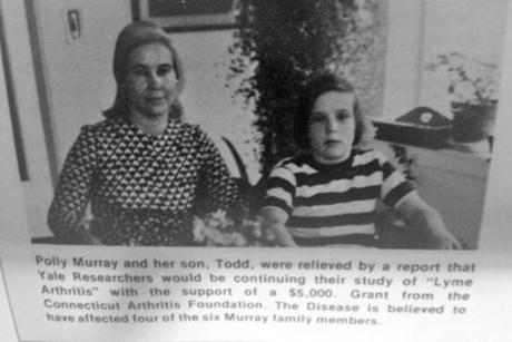 Murray and his mother in a news clipping from his youth. Polly Murray chronicled the symptoms that her sons and husband began experiencing decades ago in Lyme, Conn.