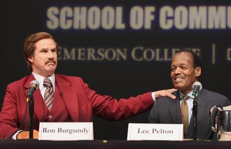 Will Ferrell as Ron Burgundy, with Emerson College president Lee Pelton, hosted a news conference Wednesday at Emerson Semel Theater.