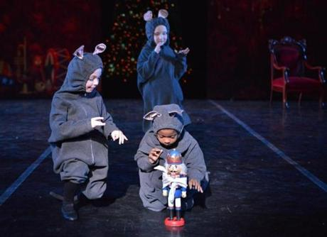 "The mice in dress rehearsal for José Mateo's ""The Nutcracker."""