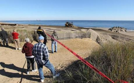 Work on a Plum Island and Salisbury Beach renourishment project continued in this October 2010 photo.