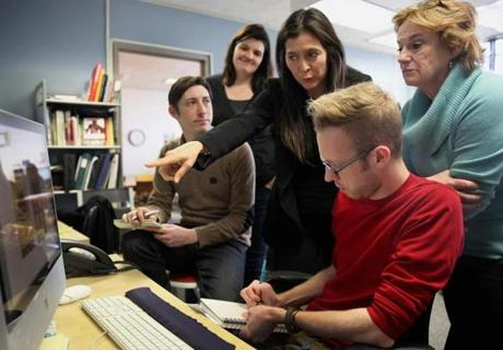 Left: Diane Paulus (center) with marketing team members (from left) Jared Fine, Anna Fitzloff, Joel Zayac, and Kati Mitchell.