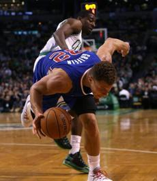 Blake Griffin was fouled by Jordan Crawford at the end of the third quarter.