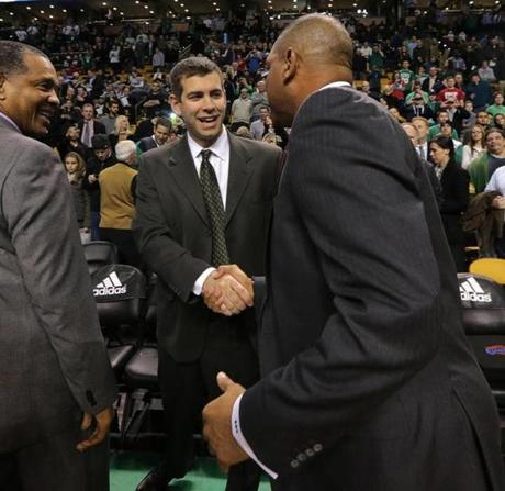 Celtics head coach Brad Stevens shook hands with Rivers before the game.