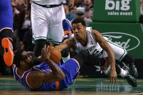 Pressey dove after a loose ball as Stoudemire tried to gain possession.
