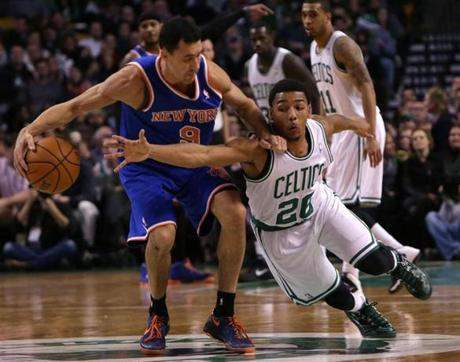 Phil Pressey tried to steal the ball from Pablo Prigioni.