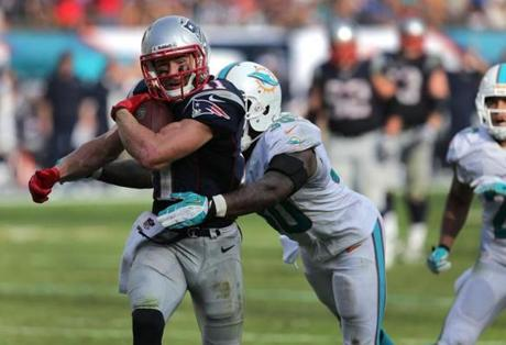 Edelman broke several tackles en route to a touchdown.