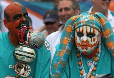Dolphins fans arrived dressed for the occasion.