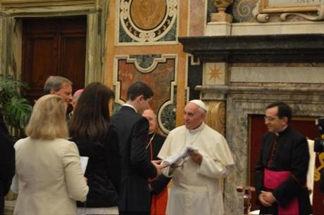 Sam Hornstein, a junior at Westwood High School, meeting Pope Francis in October.