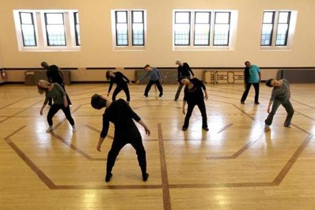 Lynn Modell taught a dance class in hall at United Parish in Brookline.