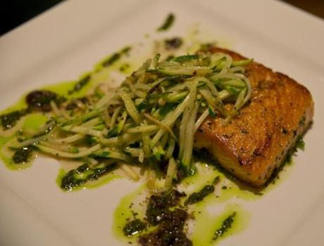 The roasted salmon served at Crow's Landing on Thursday December 19, 2013. (Matthew J. Lee/Globe staff) Topic: Reporter: