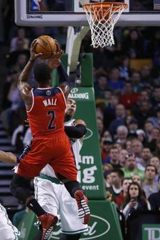 The Wizards' John Wall drew a foul on Sullinger.