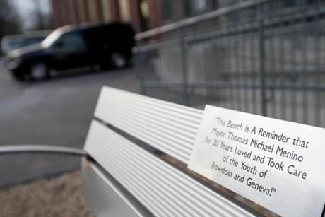 A bench dedicated to Mayor Thomas M. Menino reflects a community's gratitude.