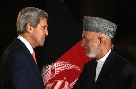 John Kerry met with Afghanistan's president, Hamid Karzai in October.