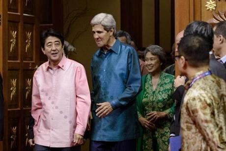 Kerry chatted with Japanese Prime Minister Shinzo Abe in October.