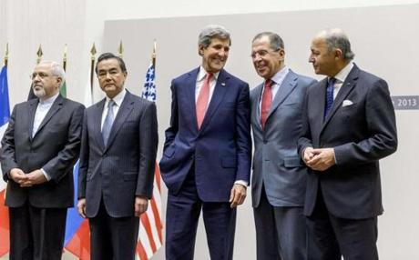 In November, Kerry stood with foreign ministers from Iran, China, Russia, and France in Geneva.