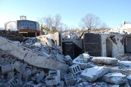 Rubble marks a changing landscape at the place  where Temple Israel had sat empty for almost a decade.