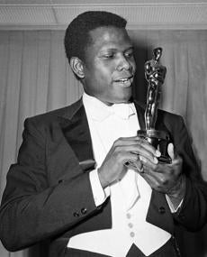 Poitier with his Oscar in 1964.