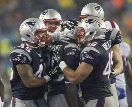 The Patriots celebrated Blount's return.