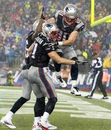 Amendola jumped on Edelman after Edelman caught a pass for a 2-point conversion in the fourth quarter.
