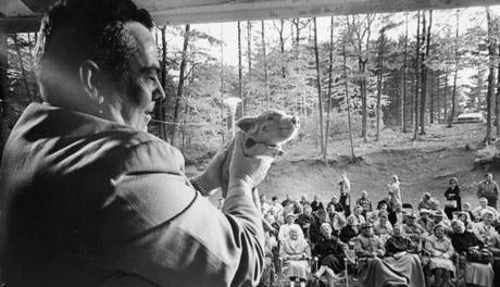 June 4, 1968: Fred Savage of Westminster, President of the Massachusetts Auctioneers Association, asked for bids on a 10-week-old baby Berkshire