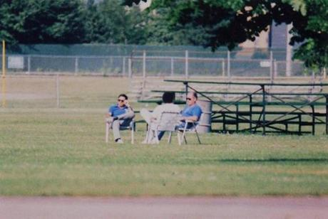 Stephen Flemmi, Kevin Weeks, and Whitey Bulger were photographed by DEA surveillance in South Boston in 1989.