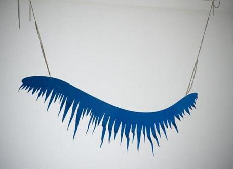 "Jim Lambie cut the shape of a hugely magnified eyelash out of aluminum for ""Blue Monday"