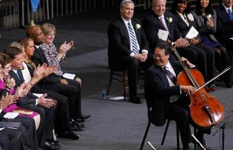 Cellist Yo-Yo Ma played at the inauguration.