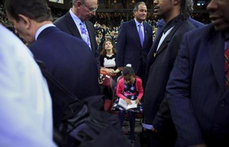 Senator Warren's granddaughter, Lavinia Tyagi, 8, of Los Angeles, bided her time before the inauguration.