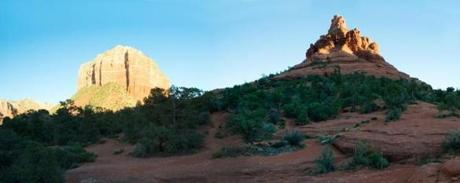 Sedona's Courthouse Rock, left, and Bell Rock, right.
