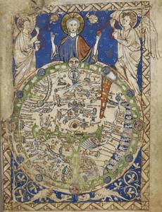 Psalter Map (1265). Paradise is the little circle at the top, at the eastern edge of Asia, with the faces of Adam and Eve inside.