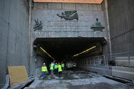 The $34 million project will rehabilitate the Callahan Tunnel's deck, curbs, and gutters.
