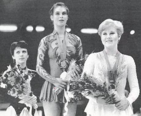 "The over-the-top costumes of Olympian Katarina Witt (center) caused the so-called ""Katarina Rule"" forced skater's arms be covered and that a skirt was required for competition (the rule was dropped in 2003)."
