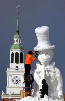 A snow sculpture for the Winter Carnival.