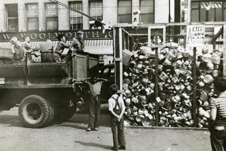 July 21 1941: The National Defense Aluminum Collection campaign to collect household aluminum products for use in defense production for the war kicked off in Massachusetts on July 21, 1941. Boy Scouts volunteered their time to go door-to-door collecting old pots or pans that Uncle Sam could use in the defense effort.