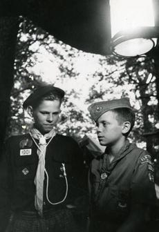 August 14, 1969:  Chatting by lantern-light were Keith Rixon, 15 (left) of Thorpe Bay, Essex England and Jeff Bailey, 12, of Norwood, Massachusetts. The English Boy Scouts visited with American Scouts at Camp Child in Manomet.