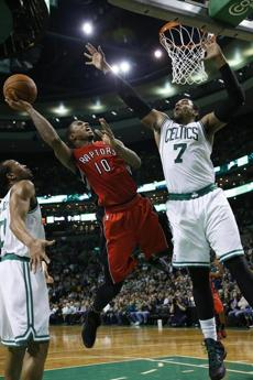 DeMar DeRozan made a layup against Jared Sullinger in the third quarter.