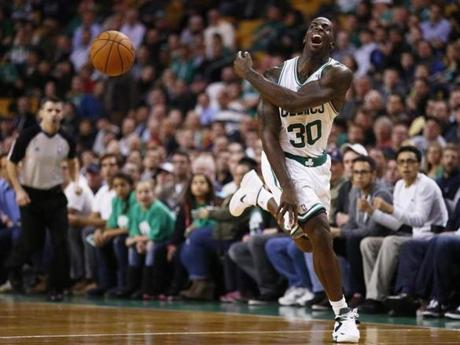 Brandon Bass tried, unsuccessfully, to prevent a backcourt violation in the fourth quarter.