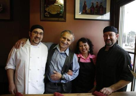 Sous chef Rafael Camano, general manager Pepe Pineiro and his wife and bar manager, Gigi Leiva, and chef Joaquin Galan.