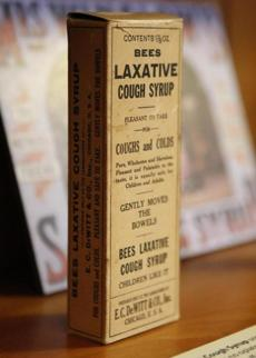 A box of Bees Laxative Cough Syrup is on display at the Public Health Museum