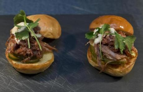 Barbecued pork sliders.
