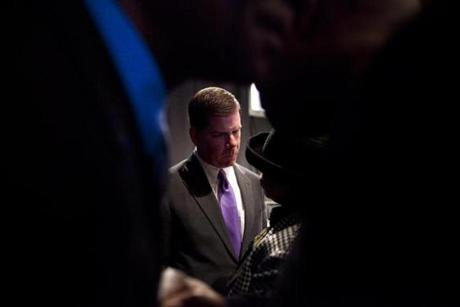 01/20/2014 - South Boston, MA - Boston Convention Center - Boston Mayor Marty Walsh was the center of attention as soon as breakfast was served and the politicos stepped off the stage en masse. Thousands were in attendance at the 44th annual Martin Luther King, Jr. breakfast held at the Boston Convention Center on Monday morning, January 20, 2014. The breakfast is the nation's longest-running event dedicated to the memory of Dr. King, according to the event website. Topic: 21breakfast. Dina Rudick/Globe Staff