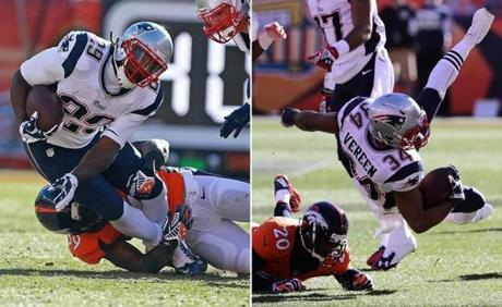 LeGarrette Blount (left) was tackled by Denver's Danny Trevathan en route to 6 yards on five carries; Shane Vereen, tripped up by Mike Adams, led the Patriots with 34 rushing yards.