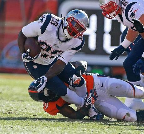 LeGarrette Blount was brought down by Danny Trevathan.