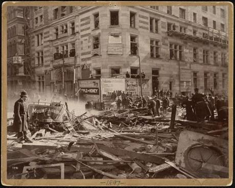 On March 4, 1897, the sparks from an above-ground streetcar and an undetected gas leak combined to create a horrific explosion. Ten people were killed.