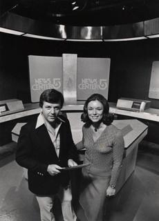 Chet Curtis and Natalie Jacobson at WCVB-TV in 1976.