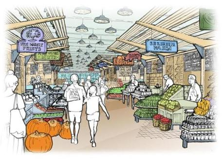 An architect's rendering of the Boston public food market, soon to be under construction in Haymarket Square.