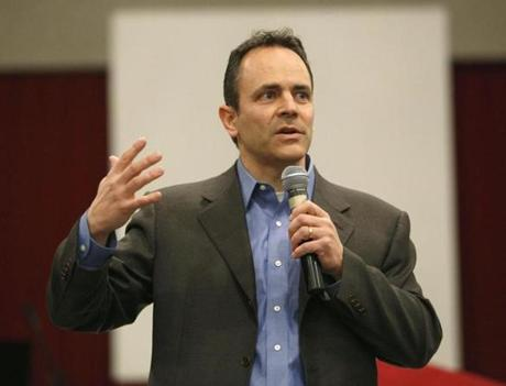 Republican Senate primary challenger Matt Bevin spoke during a Tea Party event in Cincinnati.